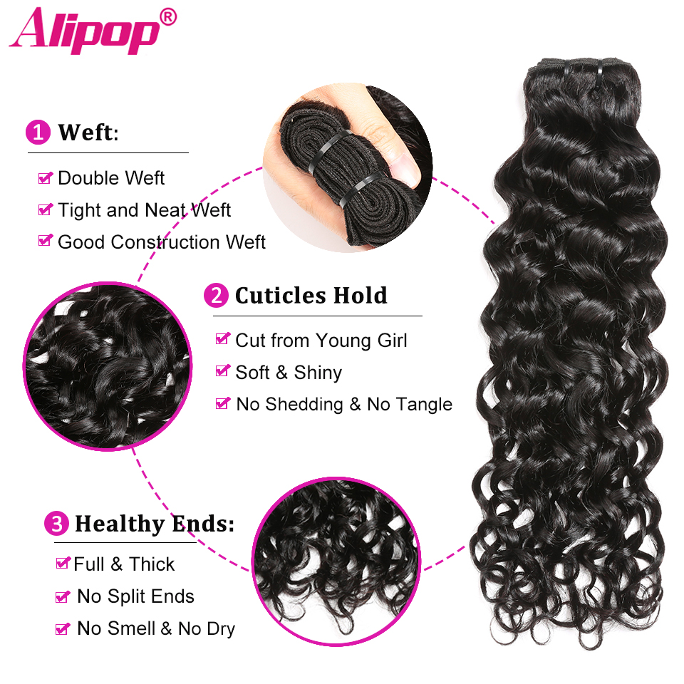 Water Wave Bundles With Closure Can Customize Into A Brazilian Water Wave Curly Wig Remy Human hair Bundles With Closure ALIPOP (3)