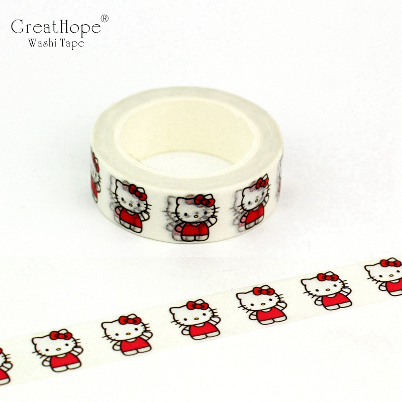 1pc Cute Cartoon Hello Kitty Decorative Washi Tape DIY Scrapbooking Masking Tape School Office Supply Escolar Papelaria
