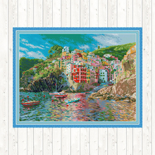 The Seaside Town Landscape Painting 14ct DIY Needlework Sets for Embroidery Cross Stitch 11CT Counted Print on Canvas Home Decor