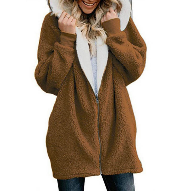 Women Coat Winter S-5XL Causal Soft Hooded Pocket Zipper Fleece Plush Female Coat Warm Plus Size Faux Fur Fluffy Women Jacket