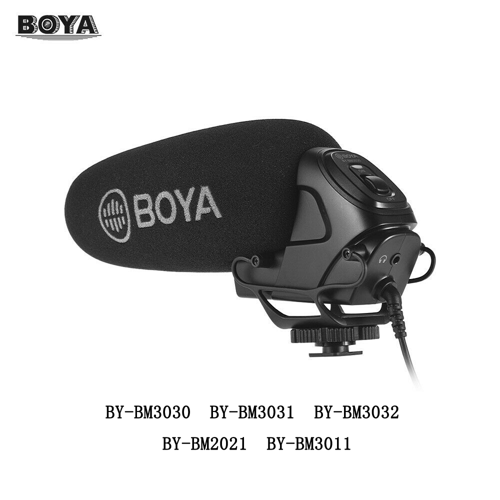 Boya BY-BM3030 BM3031 BM3032 BM3032 BM3011 Microphone On-Camera Shotgun Condenser Supercardioid for DSLR Cameras Audio Recorders image