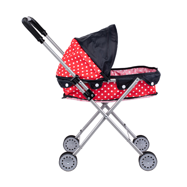 Simulation Foldable Dotted Baby Doll Stroller With Hood Kids Playhouse Toys 6