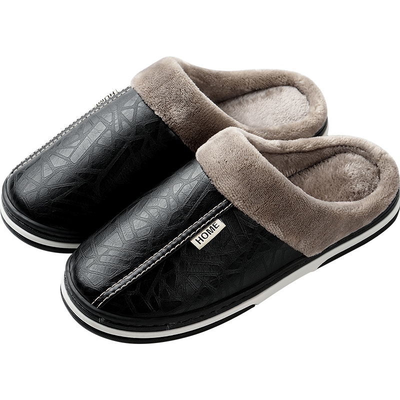 Men Winter Slippers Home Warm Waterproof Men's Shoes Man Fashion Cotton Male Slip-on Anti-dirty Leather Slides Casual Loafers