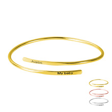 Bangles Name Bracelet Letter Custom Gold Colorpersonalized Birthday Charm Pearl Adjustable