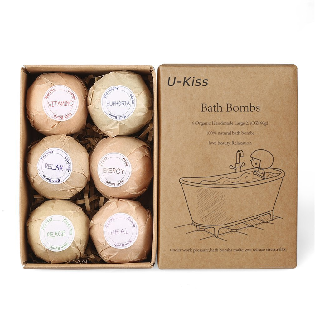 6 Pcs Organic Bath Bombs Bubble Bath Salts Homemade Stress Relief Lavender Lemon Peppermint Chamomile Milk Jasmine Flavors