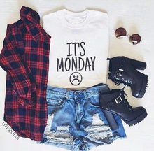 It's Monday T-Shirt Monday Sad Expression Harajuku Tee Funny Expression Casual Tops Short Sleeve Style Tops Oversize S-5xl(China)