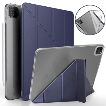 Case For iPad Pro 11 2020 PU Leather Multi-Fold Stand Smart Cover 12 9 case TPU Silicone soft back Tablet