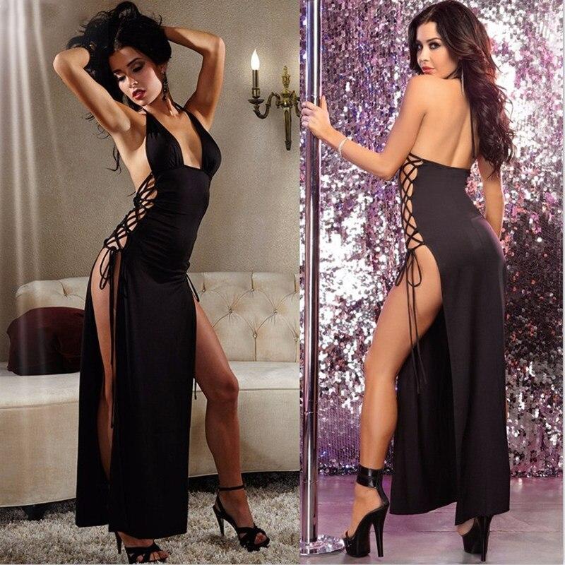 Women's Erotic Lingerie Long Satin Skirt Cross Bandage Dress Sexy Lingerie Babydoll Porn Sex Underwear Night Club Party Costumes