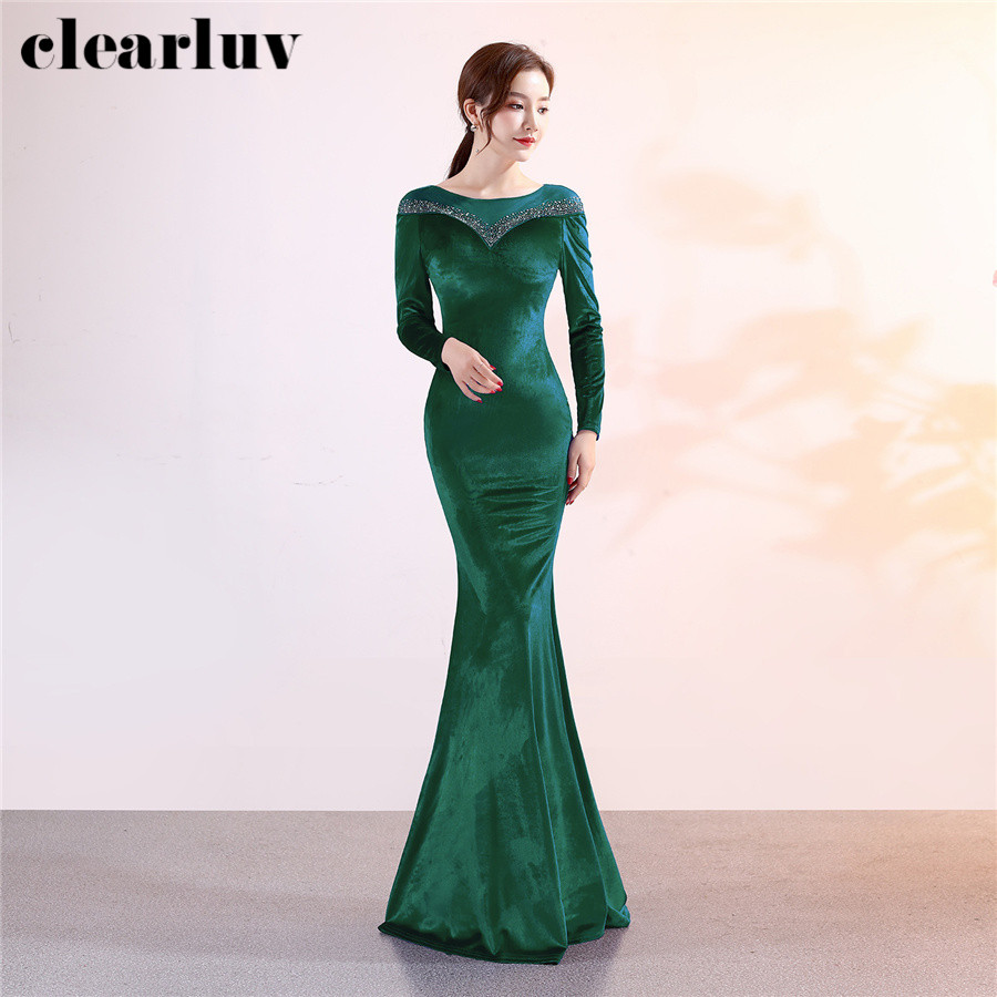 Evening Dress Long Sleeved Velour Women Party Dresses DX305-1 Plus Size Elegant Robe De Soiree 2020 Green Mermaid Formal  Dress