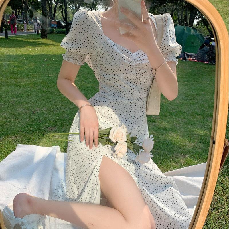 French Chiffon Dress Women Puff Sleeve Point Print Vintage Retro Dress Office Lady Casual Summer Elegant Split Dress Women 2020