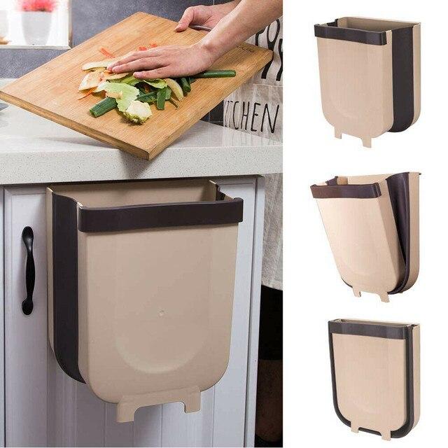 ห้องครัวตู้ประตูแขวนถังขยะขยะพับถังขยะห้องครัวแขวนพับแห้งเปียกแยกถังขยะ