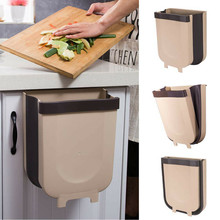 Kitchen Cabinet Door Hanging Trash Can Garbage Can Folding Waste Bins Kitchen Hanging Collapsible Dry Wet Separation Trash Can