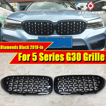 цена на G30 Front Bumper Diamonds Grill Grille ABS Gloss Black 5 Series 520i 530i 540i 540iXD Front Kidney Grille Auto Car styling 18-