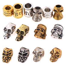 New Paracord Beads Metal Charms Skull for Paracord Bracelet Braided Parts DIY Pendant
