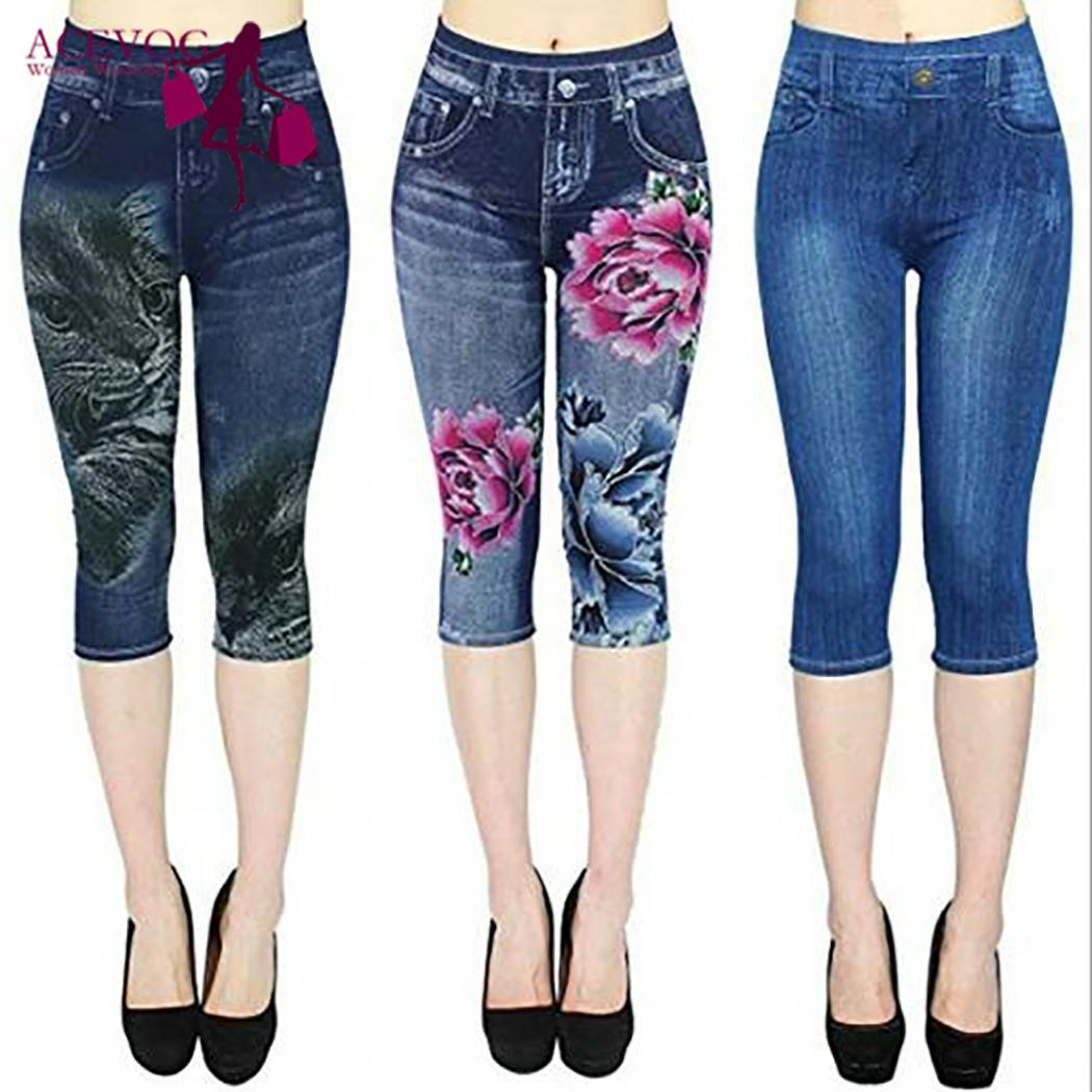 Women Casual Printed Skinny Pants Imitation Jeans High Waist Summer Capri Leggings