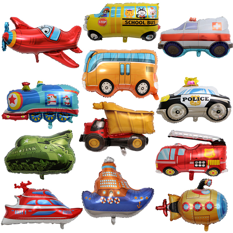1pcs Cartoon Airplane Foil Balloon Aircraft Train Steamship kids Inflatable toys Children's Day Gifts Birthday Party decorations image