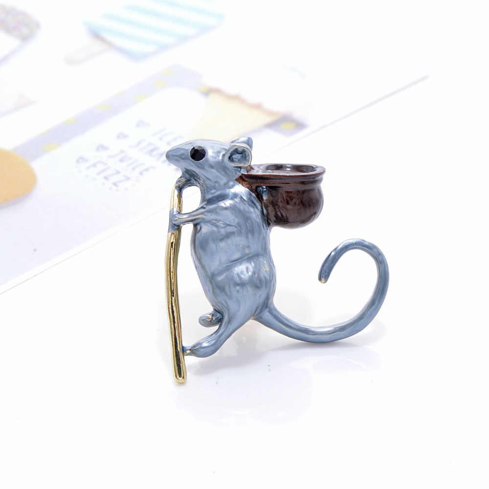 YoungTulip 新人気 3 色選択エナメルかわいいマウスの形のブローチ女性のための素敵な漫画のスタイル動物の形のブローチピン