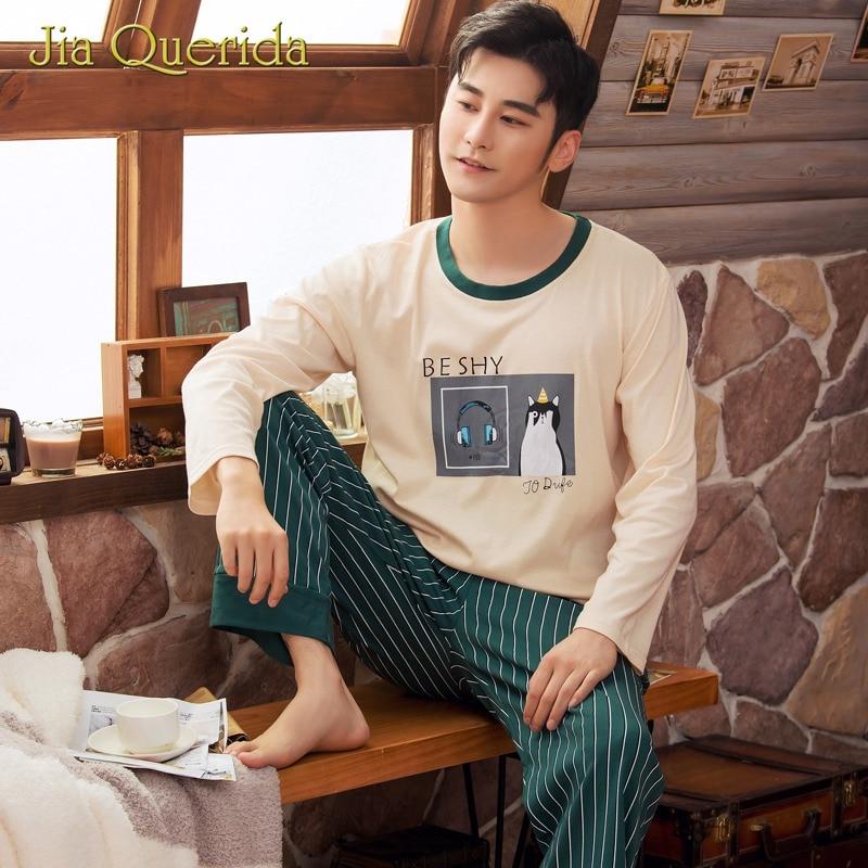 Mens Pajamas Long Sleeve Beige Shirt Breatheable Cotton Green Striped Pants Autumn Spring Pyjamas Men Sleep Clothes Pajama Male