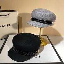 100% Wool Newsboy Caps Women Luxury Designer Visor Beret Hat with Chain Band Female Adjustable Winter Warm Military Cabbie Hats