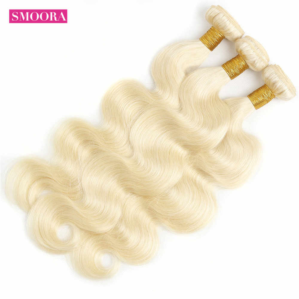 613 Bundles with Frontal Brazilian Body Wave with Frontal Non Remy 613 Blonde Human Hair Bundles with Baby Hair Closure Smoora