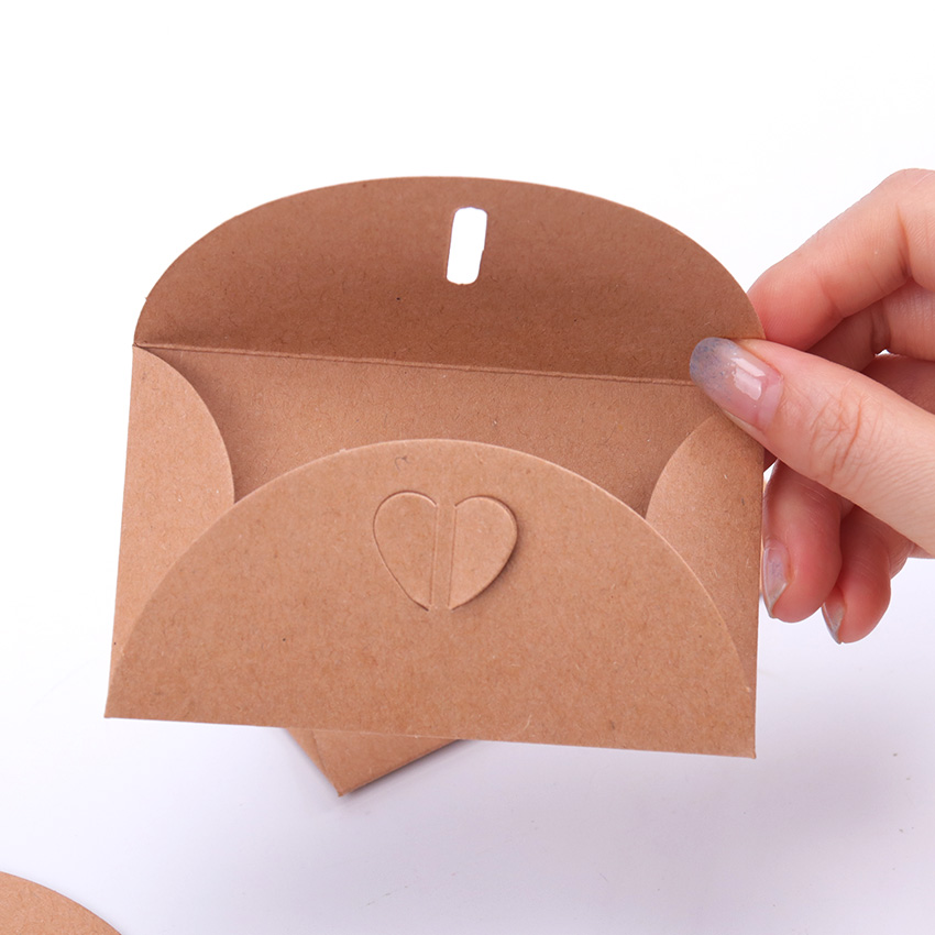 10PCS Vintage Love Button Envelope Kraft Paper Gift Card With Envelope Handmade Paper String Romantic Love Letter Envelope