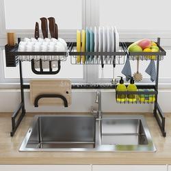 Estante para platos de acero inoxidable de 2 capas multiusos, rejilla para escurrir para fregadero de cocina, estante para platos, estante de secado para fregadero negro