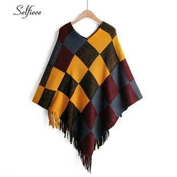Selfieee Plaid Sweater Women Batwing Sleeve V-Neck Tassel Design Irregular Contact Color Clothes Autumn Streetwear Pullover 2020 khaki splited design round neck irregular sweater
