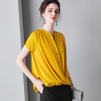Yellow 100% Silk Blouses Summer V Neck White Ladies Tops Soft Stain Shirt Loose Casual Pullover Women Tee Pink za bluzki damskie