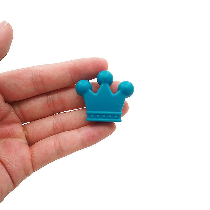 Chenkai 10PCS BPA משלוח כתר סיליקון חרוזים Teether מכרסמים תינוק בקיעת שיניים צעצוע להכנת תינוק בקיעת שיניים Dummy מוצץ שרשרת