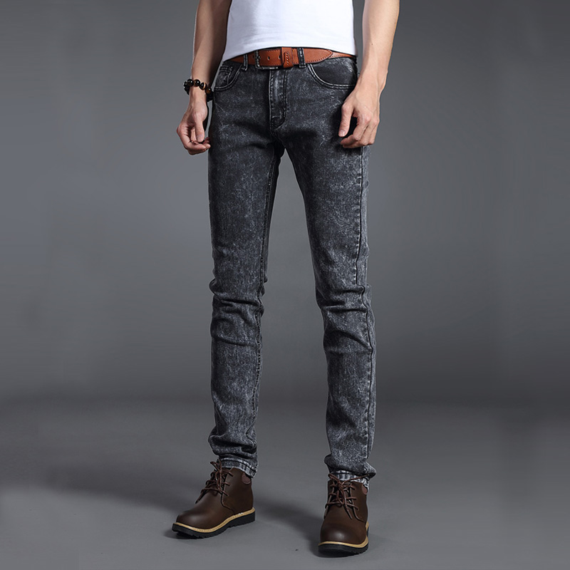 2019 Men Stretch Jeans Fashion Gray Blue Denim Trousers For Male Spring And Autumn Retro Pants Casual Men's Jeans Size 27-36