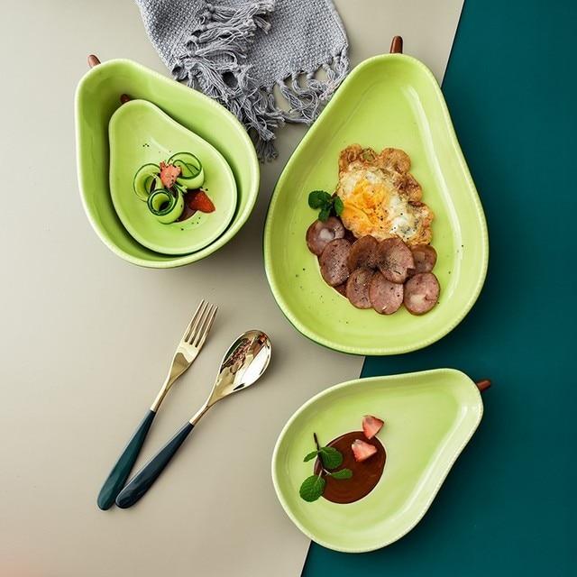 Фото креативная тарелка авокадо керамическая для завтрака миска супа