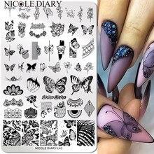 Nicole diário tamanho grande borboleta imagem prego carimbo placas folha de flor impressão de renda estêncil design floral modelo de selo