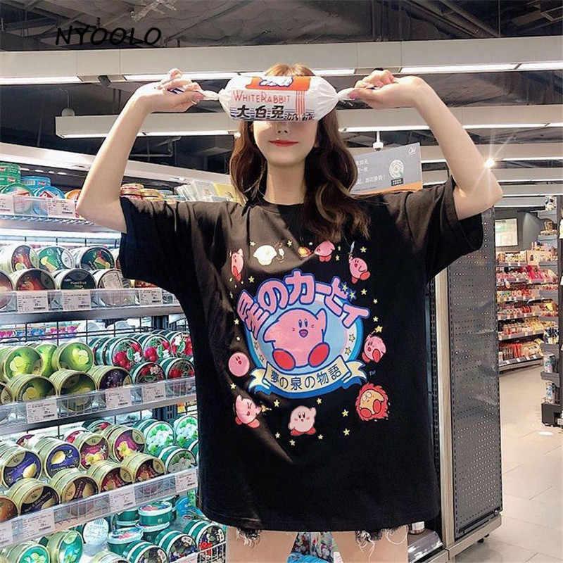 NYOOLO 2020 Harajuku Kawaii In Chữ Áo Thun Nữ Tay Ngắn Bé Gái Nữ Vải Mùa Hè Rời Cổ Tròn Áo Thun Cao Cấp
