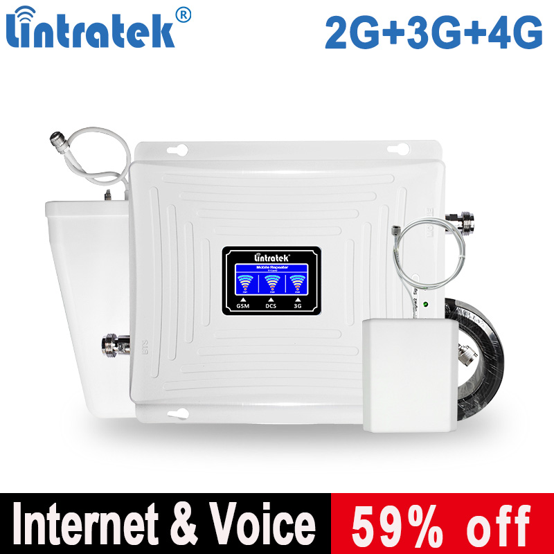 Lintratek Signal Repeater 2G 3G 4G GSM 900 4G Repeater 1800Mhz Booster 3G 2100 Triband Antenna Amplifer GSM Lintratek Kw20C-GDW