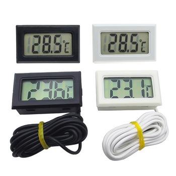 Cyfrowy termometr Mini wyświetlacz LCD miernik lodówki zamrażarki chłodnice akwarium chillery Mini 1M 2M sonda Instrument 1 sztuk tanie i dobre opinie Junejour M17718 Osadzone 100 ° C-119 ° C 1 9 Cali i Pod Czujnik temperatury DIGITAL Indoor Przycisk Baterii