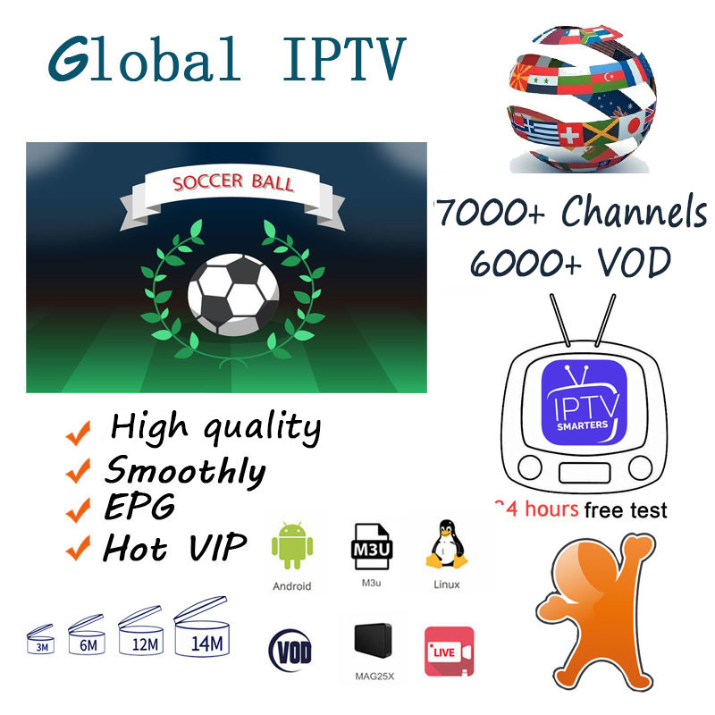 IPTV M3u Smarters For Smart Androd Tv Box 9000+ French Arabic UK Germany USA IPTV Subscription H265 M3u Enigmas2 Smart Tv