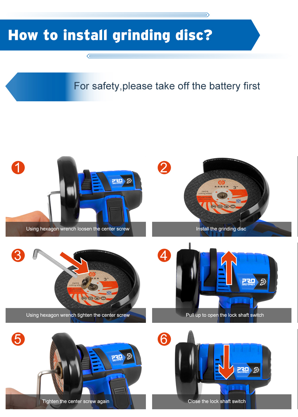 how to install grinding disc