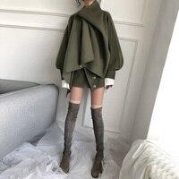 2019 Winter New Handmade Double sided Cashmere Irregular Design Oversized Woolen Cape Coat