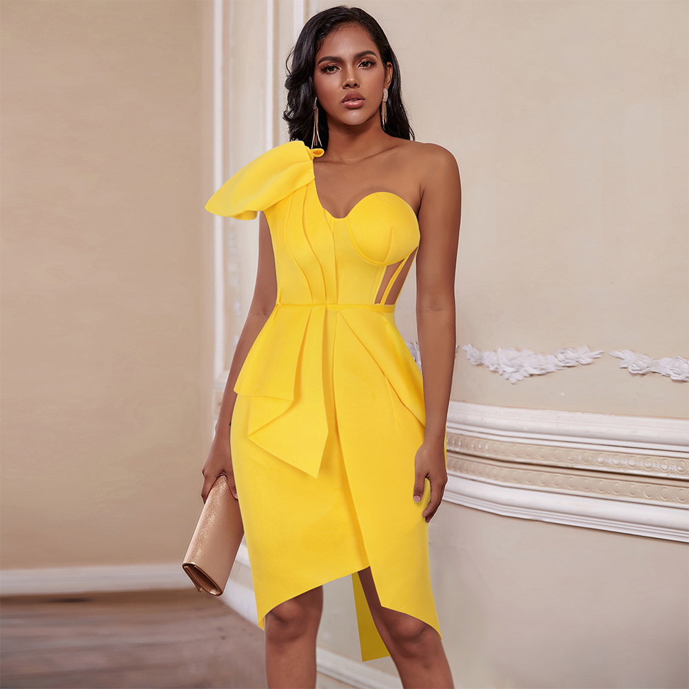 Ocstrade Women Sexy Bodycon Dresses 2020 New Summer Ruffled Yellow One Shoulder Bodycon Dress Celebrity Evening Club Party Dress