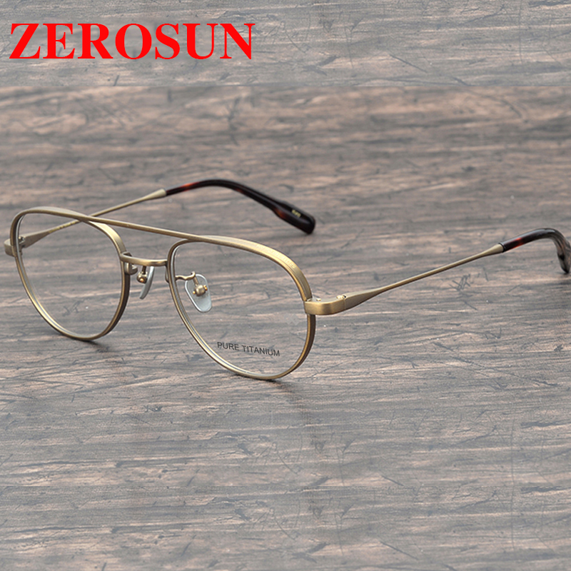 Zerosun Titanium Glasses Frame Men Aviation Eyeglasses Man Vintage Prescription Spectacles Small Nerd Points Eyewear Gold