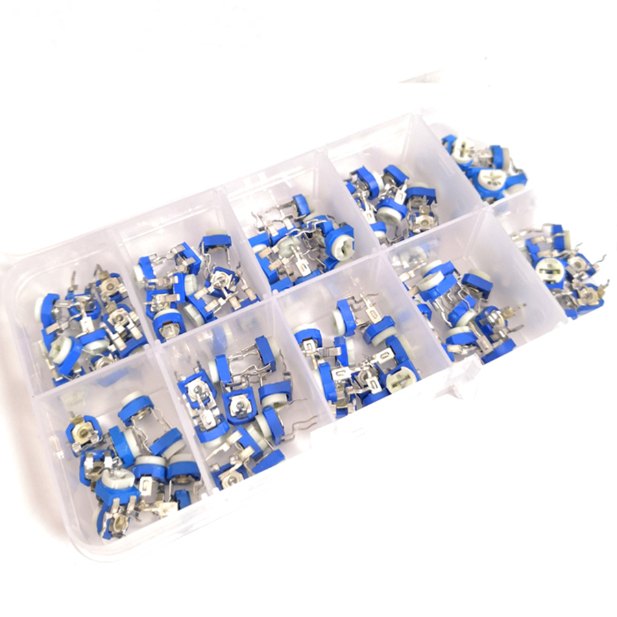 100pcs/Box RM065 Potentiometer Adjustable Resistor Kit 500 - 1M Ohm Multiturn Trimmer Potentiometer Set Variable Resistors Kit