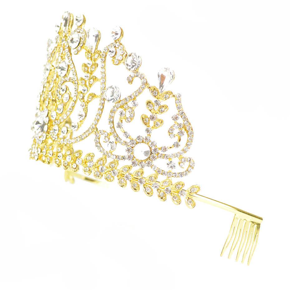 バロックブライダルヘアアクセサリーゴールドクラウン女の子のための王冠花嫁ヘッドドレス赤白オーストリアクリスタルウェディングヘッドジュエリー