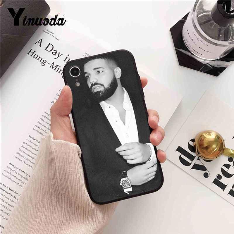 Yinuoda DRAKE RAPPEUR TPU Silicone Souple Noir Téléphone étui pour iphone 8 7 6 6S 6plus X XS MAX 5 5S SE XR 10 Couverture