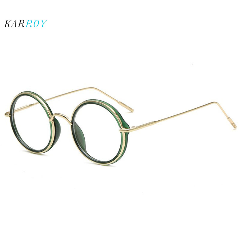 Vintage Round Myopia Eyeglass Frames Men Fashion Metal Optical Glasses Frame Women Plain Glasses in Men 39 s Eyewear Frames from Apparel Accessories
