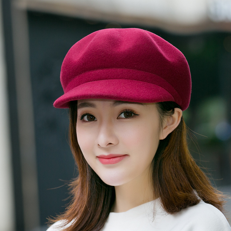 New Fashion Beret Hat Women Wool Winter Rhinestone Caps Female Solid Color Thick Warm Gorros