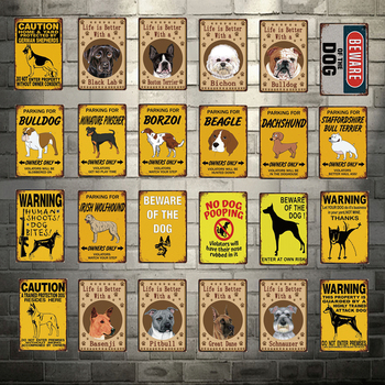 Caution Dogs Life Is Better with Bulldog Beware of Dog Metal Sign Tin Poster Home Decor Bar Wall Art Painting 20*30 Cm Size