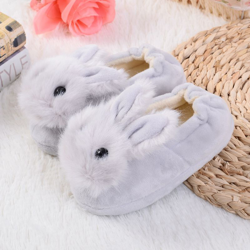 Sapatos para crianças de algodão, sapatos para crianças meninos e meninas de outono, chinelos fofos com orelhas de coelho, espessamento de bola, sapatos internos