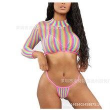 3 Piece Swimsuit Women Solid Bikini 2019 Mesh Long Sleeve High Waist Set Push Up Swimwear Bra Bottom Cover