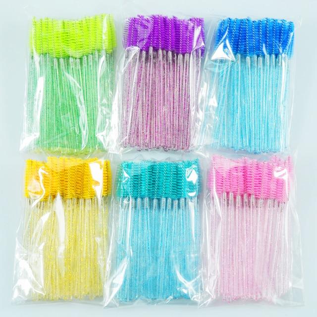 QSTY eyelash brush makeup brushes 50pcs individual disposable mascara applicator comb wand lash makeup brushes tools 6colors 3
