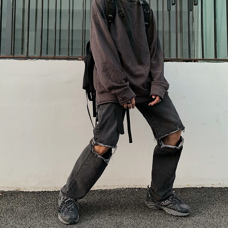 Shattered Jeans Men's Fashion Washed Casual Retro Tear Hole Jeans Men Streetwear Wild Loose Hip Hop Denim Trousers Mens